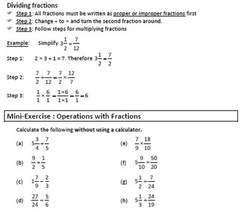 Fractions - Operations