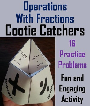 Operations with Fractions Game Activity 5th 6th 7th 8th Grade