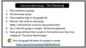 The Great Math Escape - Operations with Fractions