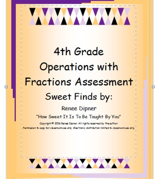 Operations with Fractions 4th Grade Assessment