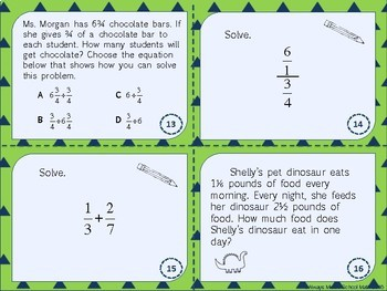 Operations with Fractions: Add, Subtract, Multiply & Divide Skill Cards (Scoot!)