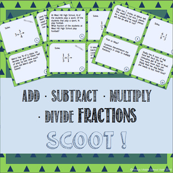 Operations with Fractions: Add, Subtract, Multiply & Divide Task Cards (Scoot!)