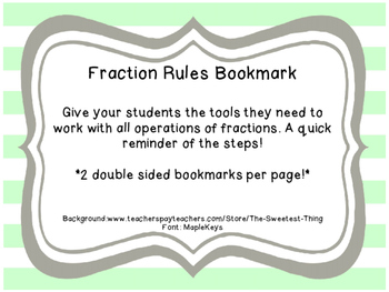 Operations with Fractions Bookmarks