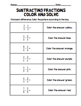 Operations with Fractions Color and Solve
