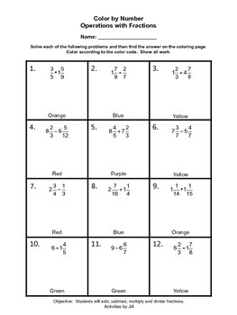 math worksheet : operations with fractions color by number by activities by jill  tpt : Operations With Fractions Worksheet