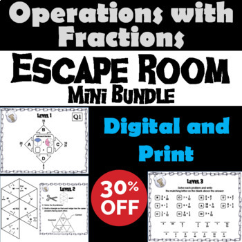Operations with Fractions Game: Escape Room Math Mini-Bundle