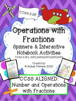 Operations with Fractions Interactive Notebook and Spinners Activities
