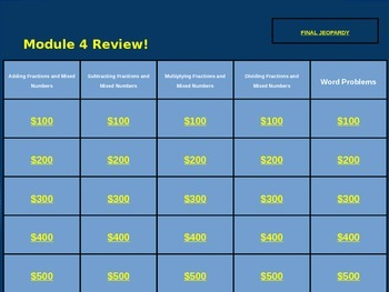 Operations with Fractions Jeopardy Style Review