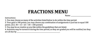 Operations with Fractions Menu