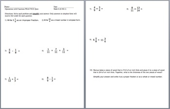 Operations with Fractions Quiz and Practice Review Quiz