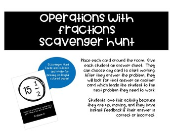 Operations with Fractions Scavenger Hunt