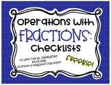 Operations with Fractions Step by Step Checklists FREEBIE