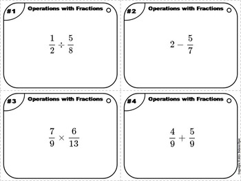 Operations with Fractions Task Cards 5 to 8th Grade