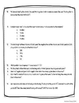 Operations with Fractions Word Problems (CCSS 5.NF)