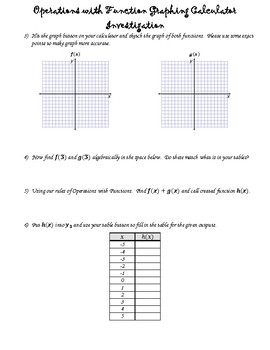 Operations with Functions Graphing Calculator Investigation (ALG 2)