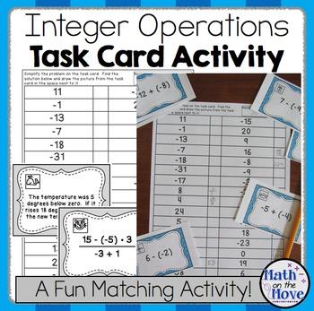 Integers Task Card Activity