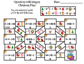 Operations with Integers Activity: Christmas Math Maze