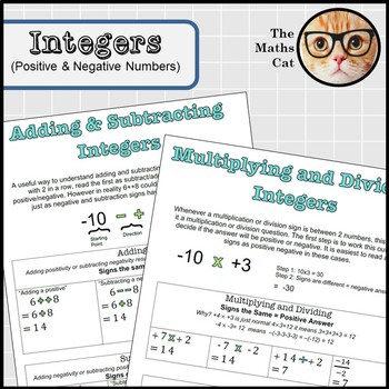 Operations with Integers Positive Negative Numbers Handout or Poster