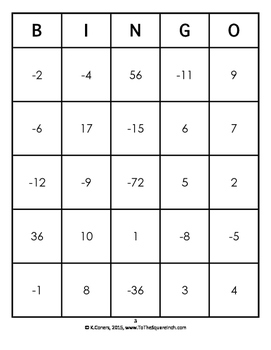 Operations with Integers Bingo