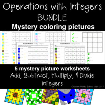 Operations with Integers Color Mystery Pattern BUNDLE