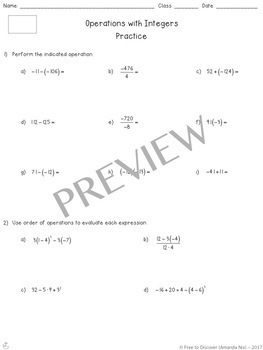 Operations with Integers Differentiated Notes and Practice