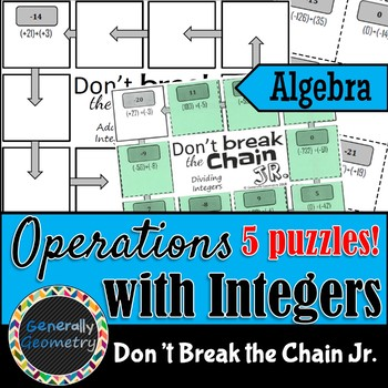 Operations with Integers Don't Break the Chain Jr-5 PUZZLES! Algebra 1