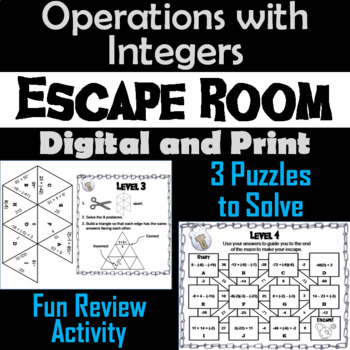 Operations with Integers Game: Escape Room Math Activity by Escape ...