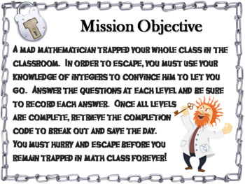 Operations with Integers Game: Escape Room Math Activity