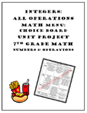 Operations with Integers Project:Choice Board Math Menu 7.NS