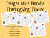 Operations with Integers Maze Bundle: Thanksgiving Themed