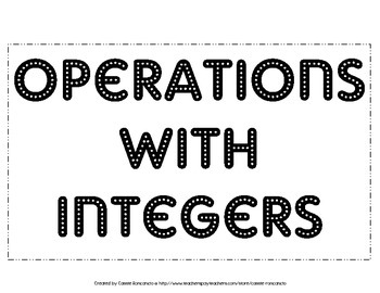 Operations with Integers Posters