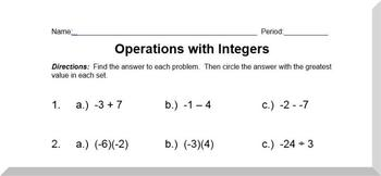 Order of Operations Worksheet -- Integers Order of Operations ...
