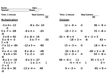Operations with Integers Practice/Assessment