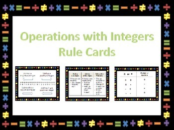 Operations with Integers Rule Cards