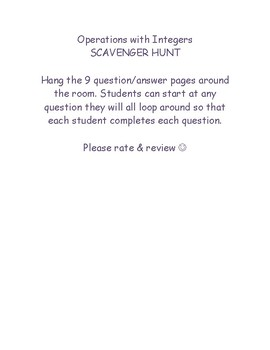 Operations with Integers - SCAVENGER HUNT