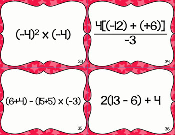 Operations with Integers Task Cards