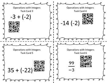 Operations with Integers Task Cards with QR Code Check 7th grade Common Core