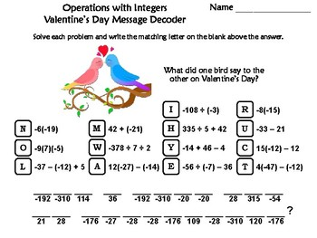Operations with Integers Valentine's Day Math Activity: Message Decoder