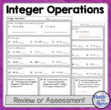 Integer Operations Quiz (or Practice Worksheet)
