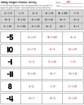 Operations with Integers - Practice Worksheets