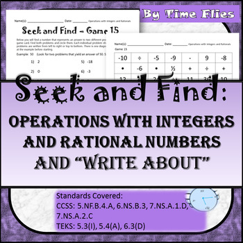 Operations with Integers and Rational Numbers Activity