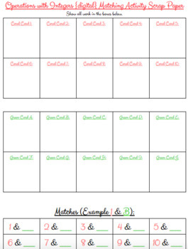 Operations with Integers {digital} Matching Activity