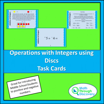 Operations with Integers with Discs Task Cards