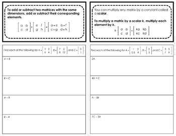 Operations with Matrices Foldable