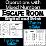 Operations with Mixed Numbers Activity: Escape Room Math Game