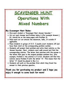 Operations with Mixed Numbers: Scavenger Hunt