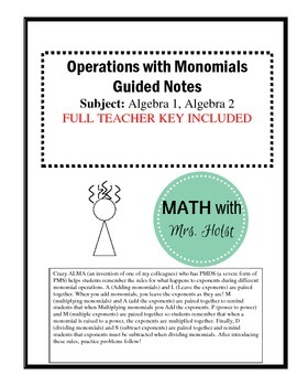 Operations with Monomials Guided Notes