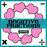 Operations with NEGATIVE Fractions Valentine's Day Heart Wreath