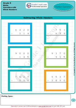 Operations with Number Systems Grade 6 Maths from www.Grade1to6.com