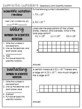 Operations with Numbers in Scientific Notation Notes PDF 8.EE.4 Go Math